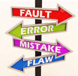 Signs pointing toward fault, error, mistake, and flaw