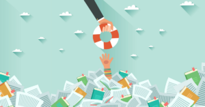 Lifesaver being offered to a hand drowning in papers